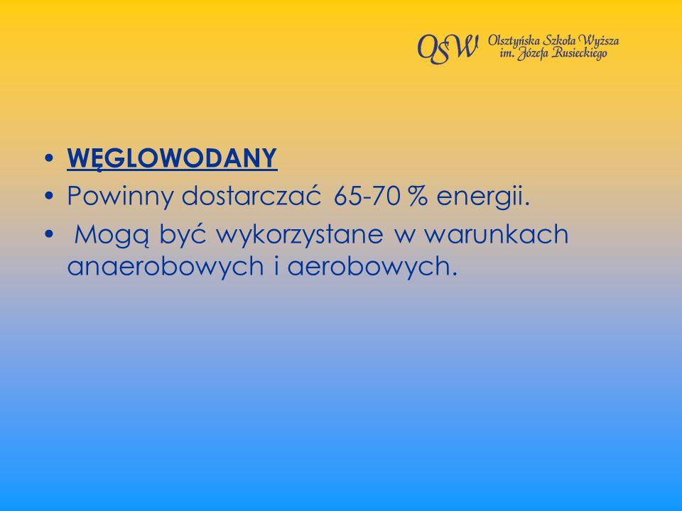 WĘGLOWODANY Powinny dostarczać 65-70 % energii. Mogą być wykorzystane w warunkach anaerobowych i aerobowych.