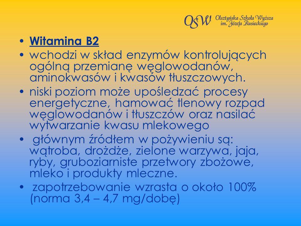 Witamina B2 wchodzi w skład enzymów kontrolujących ogólną przemianę węglowodanów, aminokwasów i kwasów tłuszczowych. niski poziom może upośledzać proc