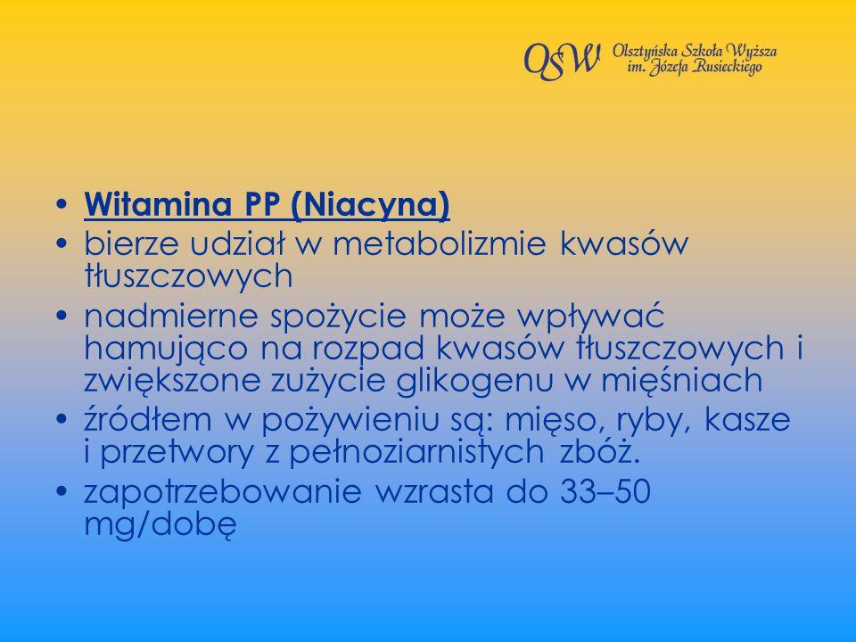 Witamina PP (Niacyna) bierze udział w metabolizmie kwasów tłuszczowych nadmierne spożycie może wpływać hamująco na rozpad kwasów tłuszczowych i zwięks