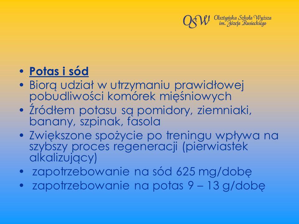 Potas i sód Biorą udział w utrzymaniu prawidłowej pobudliwości komórek mięśniowych Źródłem potasu są pomidory, ziemniaki, banany, szpinak, fasola Zwię
