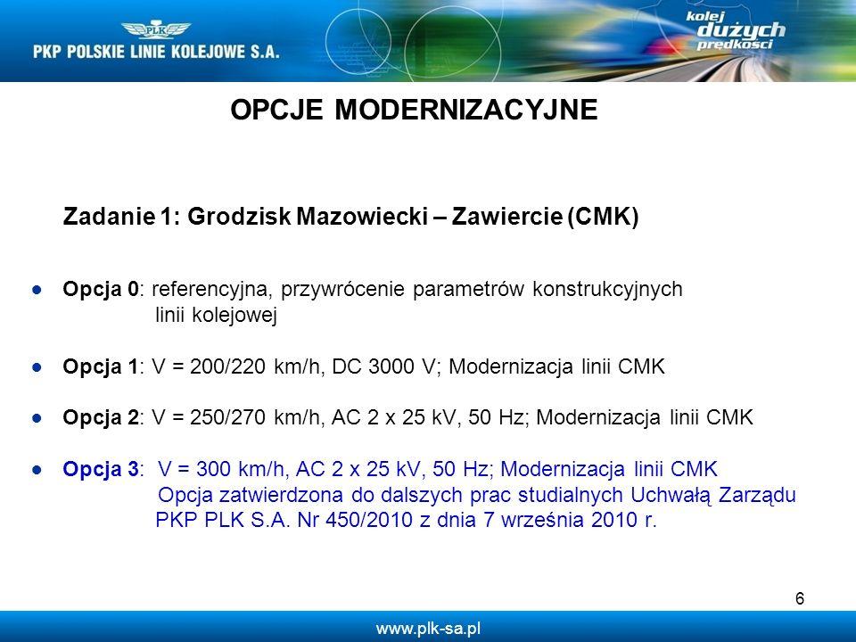 www.plk-sa.pl Zadanie 2: Odcinek Góra Włodowska/Zawiercie – Katowice Opcja 0: referencyjna, przywrócenie parametrów konstrukcyjnych linii kolejowej Opcja 1: V = 200/220 km/h, DC 3000 V; modernizacja linii dojazdowych Zawiercie – Katowice Opcja 2: V = 250km/h, AC 2 x 25 kV, 50 Hz; budowa nowego odcinka CMK Góra Włodowska/Zawiercie – Katowice Opcja 3: V = 300 km/h, AC 2 x 25 kV, 50 Hz; budowa nowego odcinka CMK Włoszczowa/Góra Włodowska – Katowice Opcja 4: V = 300 km/h, AC 2 x 25 kV, 50 Hz; budowa nowego odcinka CMK Góra Włodowska – Trzebinia – Katowice 7 OPCJE MODERNIZACYJNE