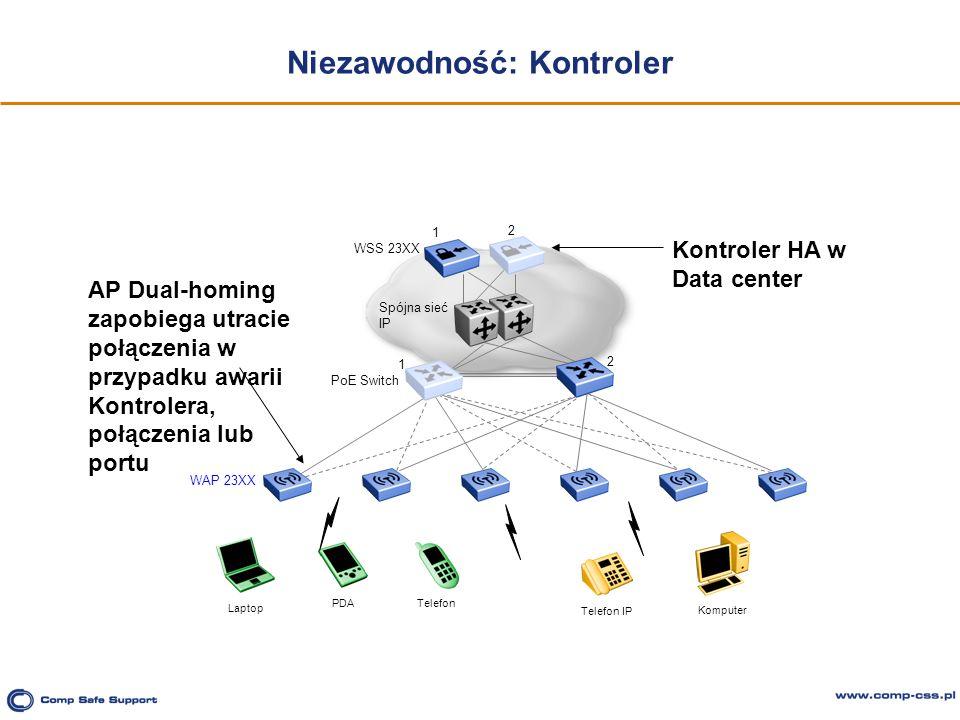 Niezawodność: Kontroler Spójna sieć IP Laptop PDA Telefon Komputer Telefon IP PoE Switch WSS 23XX 1 2 1 2 WAP 23XX AP Dual-homing zapobiega utracie po