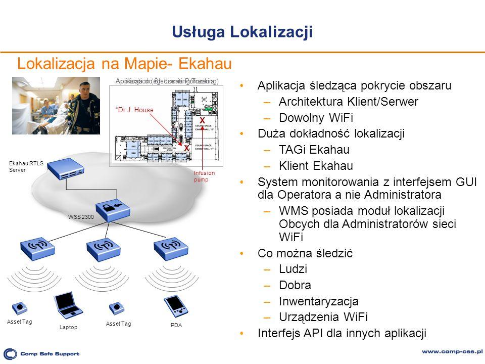 Usługa Lokalizacji Aplikacja śledząca pokrycie obszaru –Architektura Klient/Serwer –Dowolny WiFi Duża dokładność lokalizacji –TAGi Ekahau –Klient Ekah
