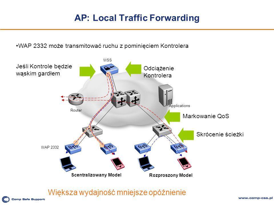 AP: Local Traffic Forwarding Router Applications Jeśli Kontrole będzie wąskim gardłem Odciążenie Kontrolera Skrócenie ścieżkiMarkowanie QoS Większa wy