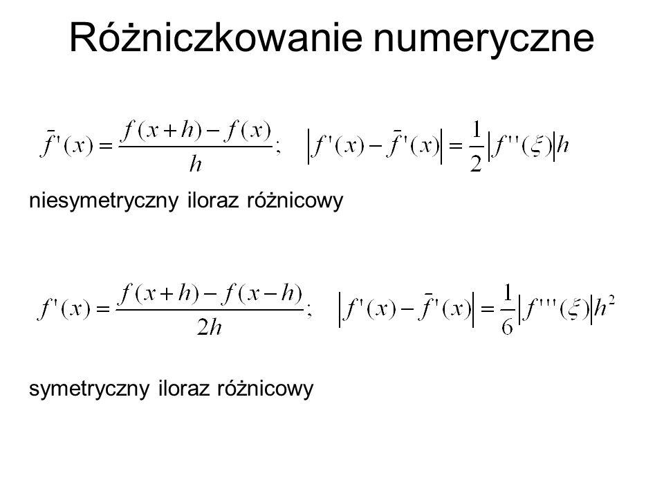 Różniczkowanie numeryczne symetryczny iloraz różnicowy niesymetryczny iloraz różnicowy