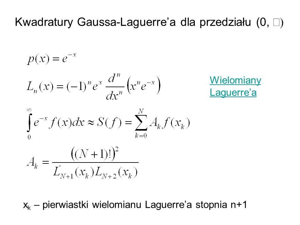 Kwadratury Gaussa-Laguerrea dla przedziału (0, x k – pierwiastki wielomianu Laguerrea stopnia n+1 Wielomiany Laguerrea
