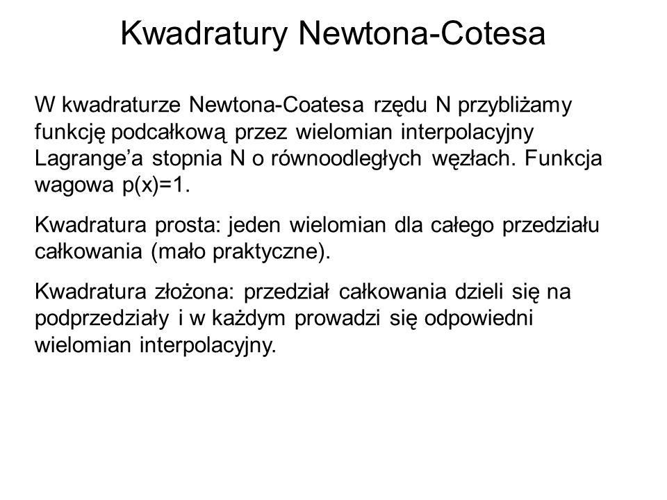 Kwadratury Newtona-Cotesa W kwadraturze Newtona-Coatesa rzędu N przybliżamy funkcję podcałkową przez wielomian interpolacyjny Lagrangea stopnia N o ró