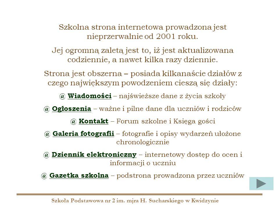 Szkoła Podstawowa nr 2 im. mjra H. Sucharskiego w Kwidzynie Szkolna strona internetowa prowadzona jest nieprzerwalnie od 2001 roku. Jej ogromną zaletą