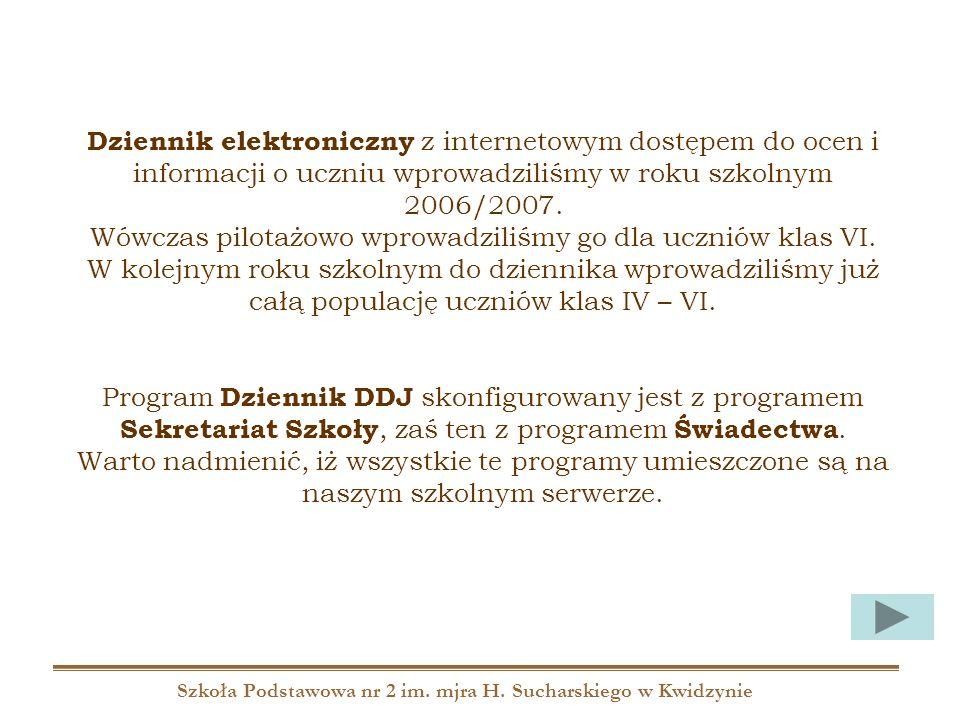 Szkoła Podstawowa nr 2 im. mjra H. Sucharskiego w Kwidzynie Dziennik elektroniczny z internetowym dostępem do ocen i informacji o uczniu wprowadziliśm