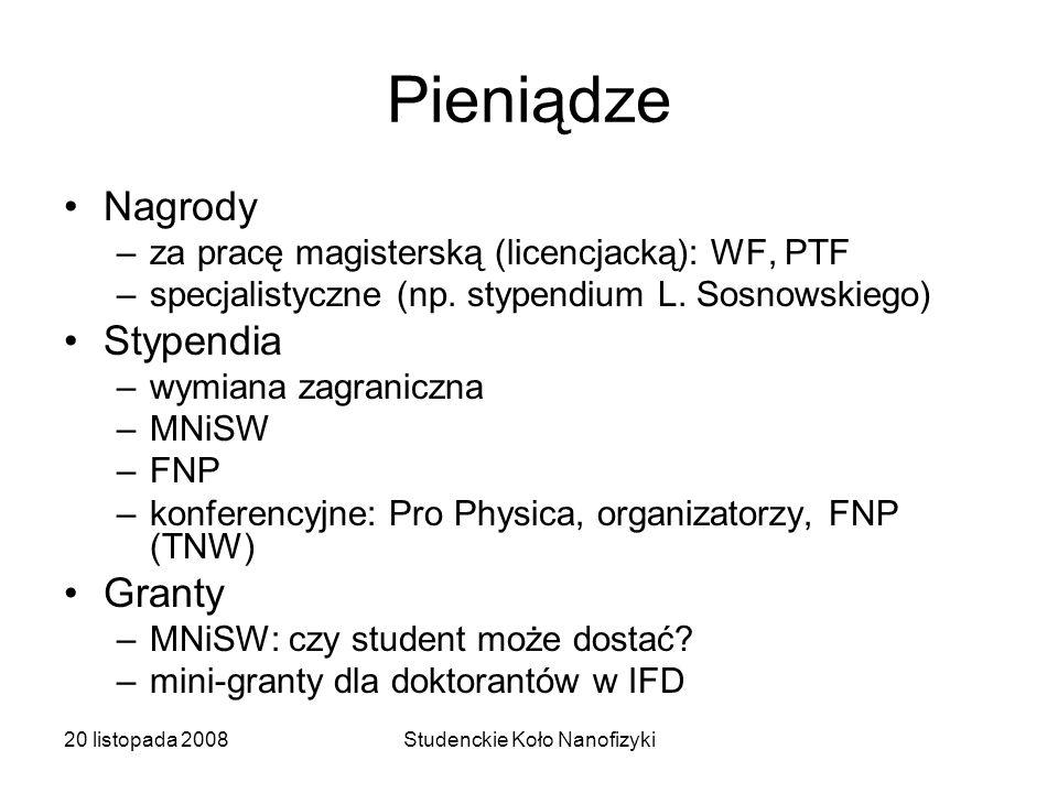 20 listopada 2008Studenckie Koło Nanofizyki Pieniądze Nagrody –za pracę magisterską (licencjacką): WF, PTF –specjalistyczne (np.
