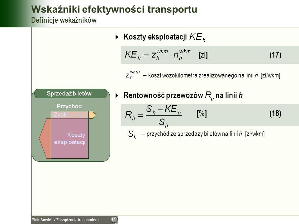 11 Piotr Sawicki / Zarządzanie transportem Wskaźniki efektywności transportu Definicje wskaźników Koszty eksploatacji [ zł ] (17) – koszt wozokilometr