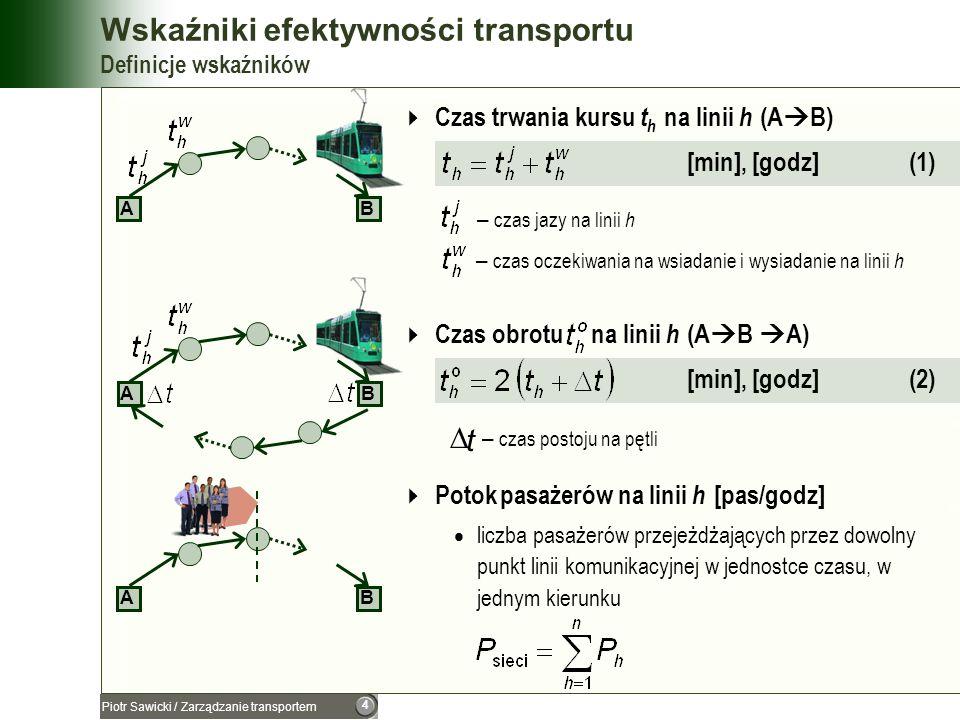 5 Piotr Sawicki / Zarządzanie transportem Wskaźniki efektywności transportu Definicje wskaźników Interwał ruchu IR h na linii h [min] (3) odstęp czasu, w którym 2 środki transportu (obsługujące tę samą linię) kolejno przejeżdżają po sobie przez dowolny punkt – liczba pojazdów na linii komunikacyjnej h AB Częstotliwość ruchu ω h na linii h [1/godz], przy IR h [min] (4) liczba środków transportu przejeżdżających w czasie 1 godz, w jednym kierunku, przez dowolny punkt linii AB