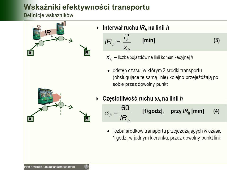 6 Piotr Sawicki / Zarządzanie transportem Wskaźniki efektywności transportu Definicje wskaźników Prędkość eksploatacyjna na linii h [km/godz] (5) – długość drogi na linii h [km] – czas pracy (jazda + postoje) pojazdu [godz] AB Prędkość techniczna na linii h [km/godz] (6) – długość drogi na linii h [km] – czas jazdy pojazdu [godz],