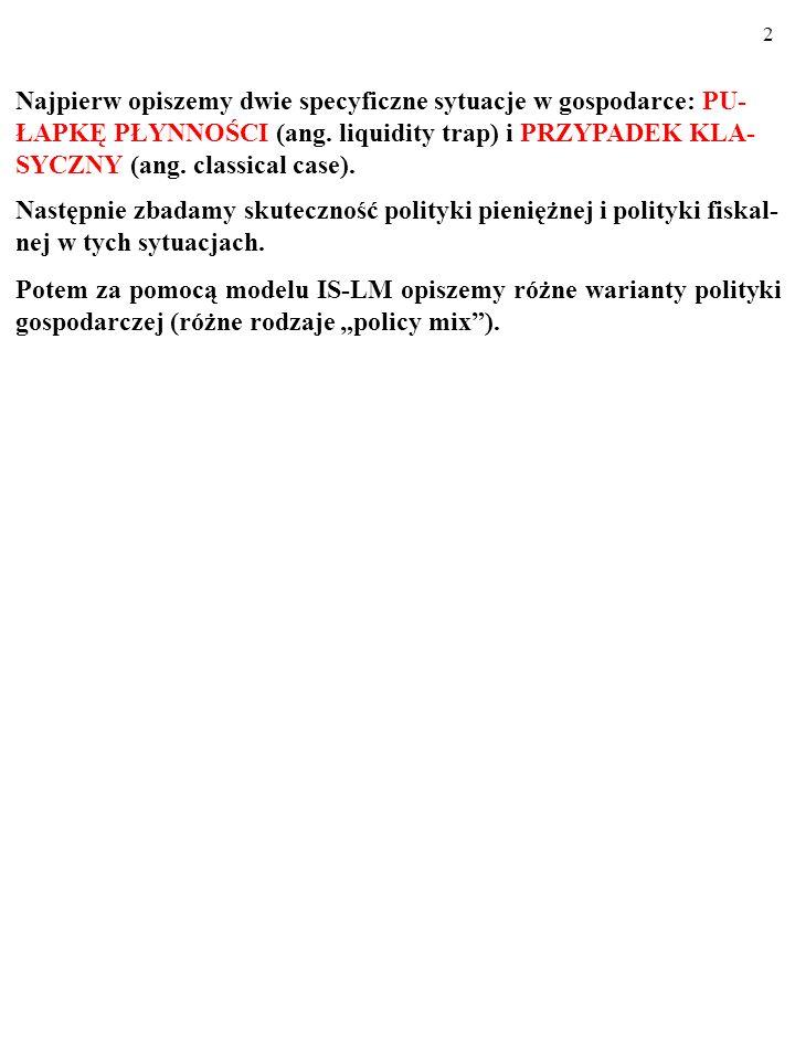 22 PODSUMUJMY: Kiedy gospodarka tkwi w pułapce płynności, zawodzi polityka pienięzna, a skuteczna jest polityka fiskalna.