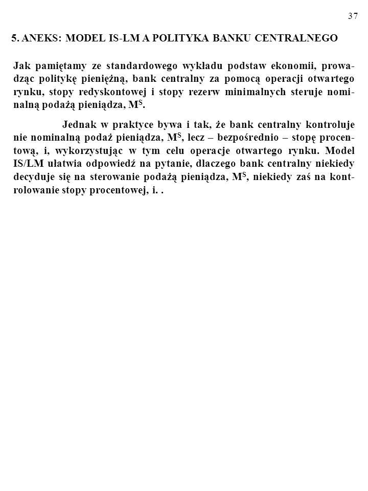 36 Ekspansywna polityka gospodarcza a struktura PKB Skoro ekspansywna polityka pieniężna powoduje spadek stopy procentowej, to jej efektem jest wzrost