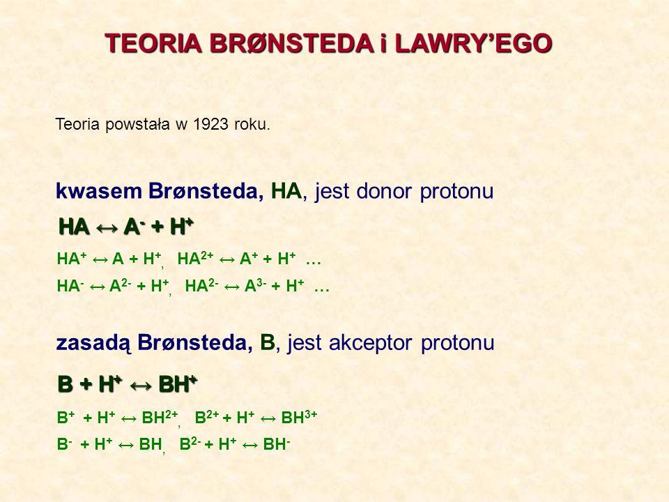 TEORIA BRØNSTEDA i LAWRYEGO HA + H 2 O A - + H 3 O + Kwas 1 Kwas 2 Zasada 2Zasada 1 BH + H 2 O BH + + OH - Zasada 1 Zasada 2 Kwas 2Kwas 1
