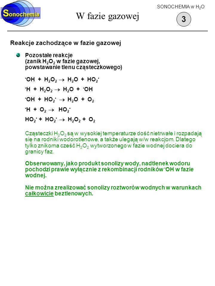 W fazie gazowej Reakcje zachodzące w fazie gazowej Pozostałe reakcje (zanik H 2 O 2 w fazie gazowej, powstawanie tlenu cząsteczkowego) OH + H 2 O 2 H
