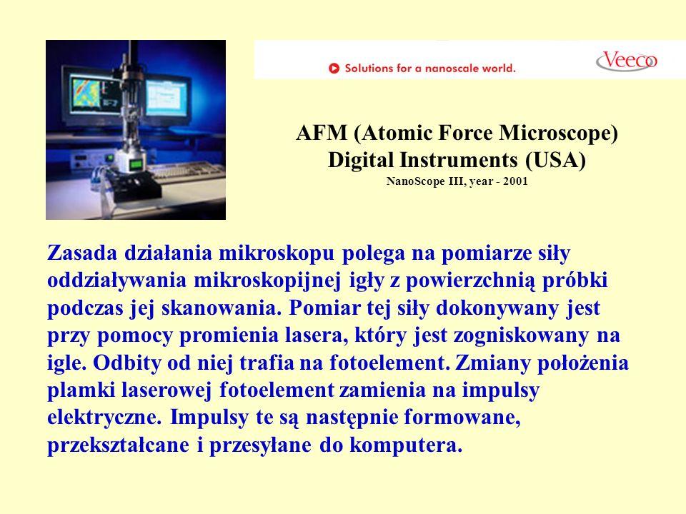 AFM (Atomic Force Microscope) Digital Instruments (USA) NanoScope III, year - 2001 Zasada działania mikroskopu polega na pomiarze siły oddziaływania m