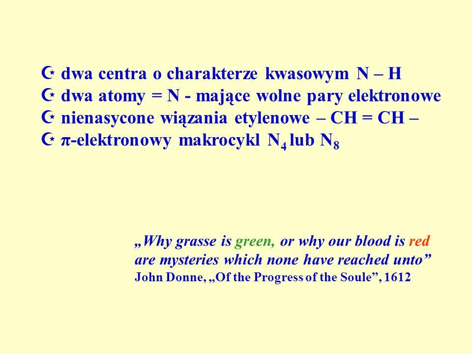 dwa centra o charakterze kwasowym N – H dwa atomy = N - mające wolne pary elektronowe nienasycone wiązania etylenowe – CH = CH – π-elektronowy makrocy