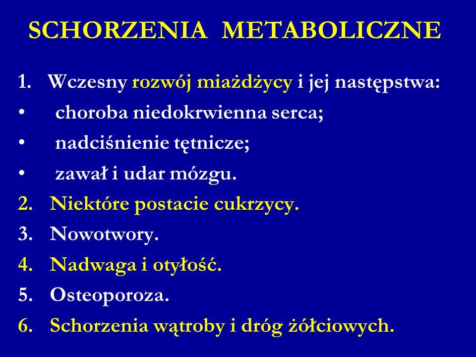 SCHORZENIA METABOLICZNE 1. Wczesny rozwój miażdżycy i jej następstwa: choroba niedokrwienna serca; nadciśnienie tętnicze; zawał i udar mózgu. 2.Niektó