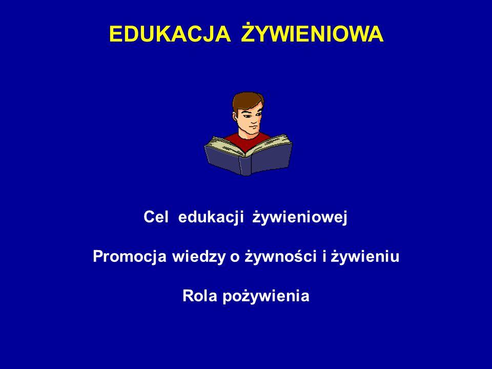 EDUKACJA ŻYWIENIOWA Cel edukacji żywieniowej Promocja wiedzy o żywności i żywieniu Rola pożywienia