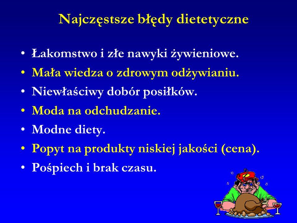 Najczęstsze błędy dietetyczne Łakomstwo i złe nawyki żywieniowe. Mała wiedza o zdrowym odżywianiu. Niewłaściwy dobór posiłków. Moda na odchudzanie. Mo