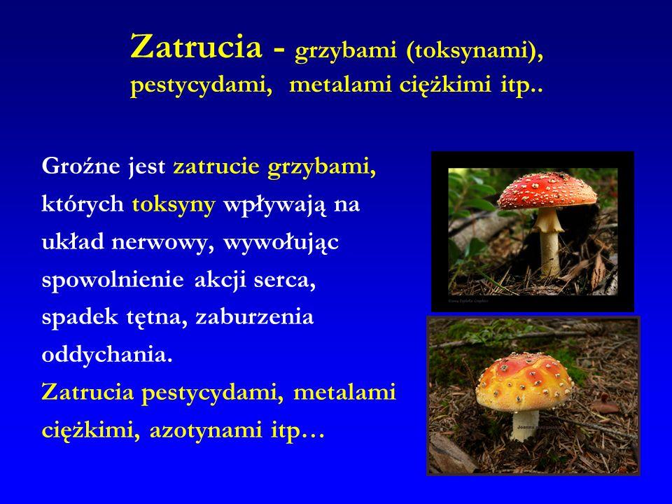 Zatrucia - grzybami (toksynami), pestycydami, metalami ciężkimi itp.. Groźne jest zatrucie grzybami, których toksyny wpływają na układ nerwowy, wywołu