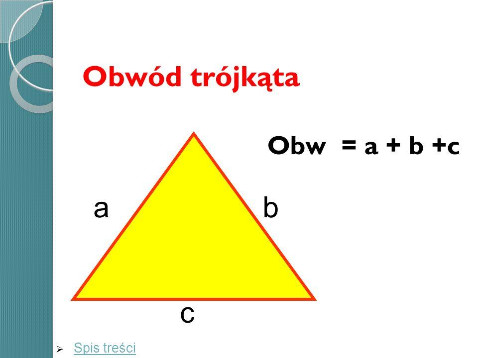 Obwód trójkąta Obw = a + b +c a b c Spis treści