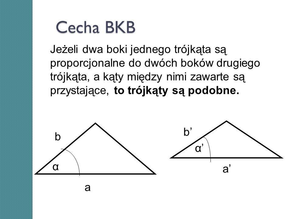 Cecha BKB b a b a α α Jeżeli dwa boki jednego trójkąta są proporcjonalne do dwóch boków drugiego trójkąta, a kąty między nimi zawarte są przystające,