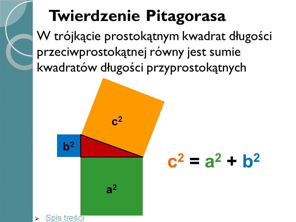 Twierdzenie Pitagorasa W trójkącie prostokątnym kwadrat długości przeciwprostokątnej równy jest sumie kwadratów długości przyprostokątnych c 2 = a 2 +