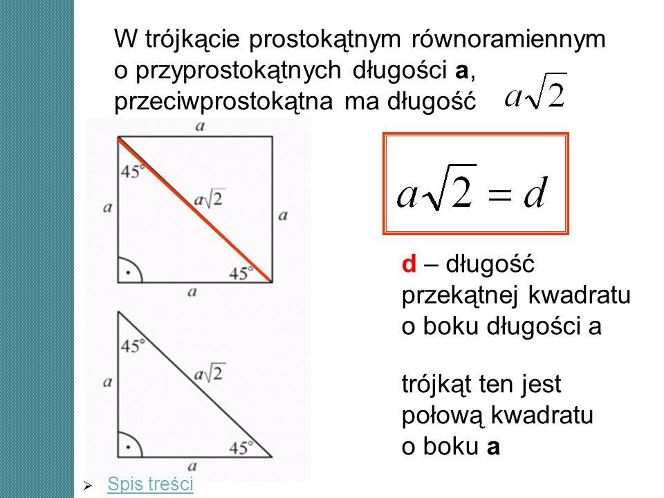 W trójkącie prostokątnym równoramiennym o przyprostokątnych długości a, przeciwprostokątna ma długość trójkąt ten jest połową kwadratu o boku a d – dł