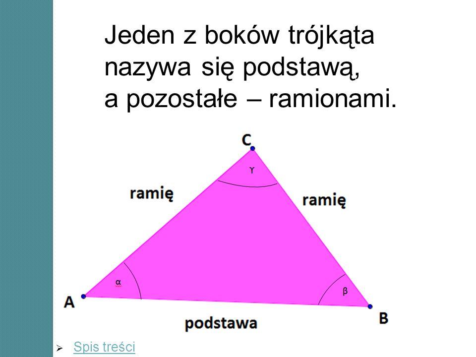 a a b α α 180° - 2 α Trójkąt jest równoramienny, jeżeli dwa jego boki mają równe długości.