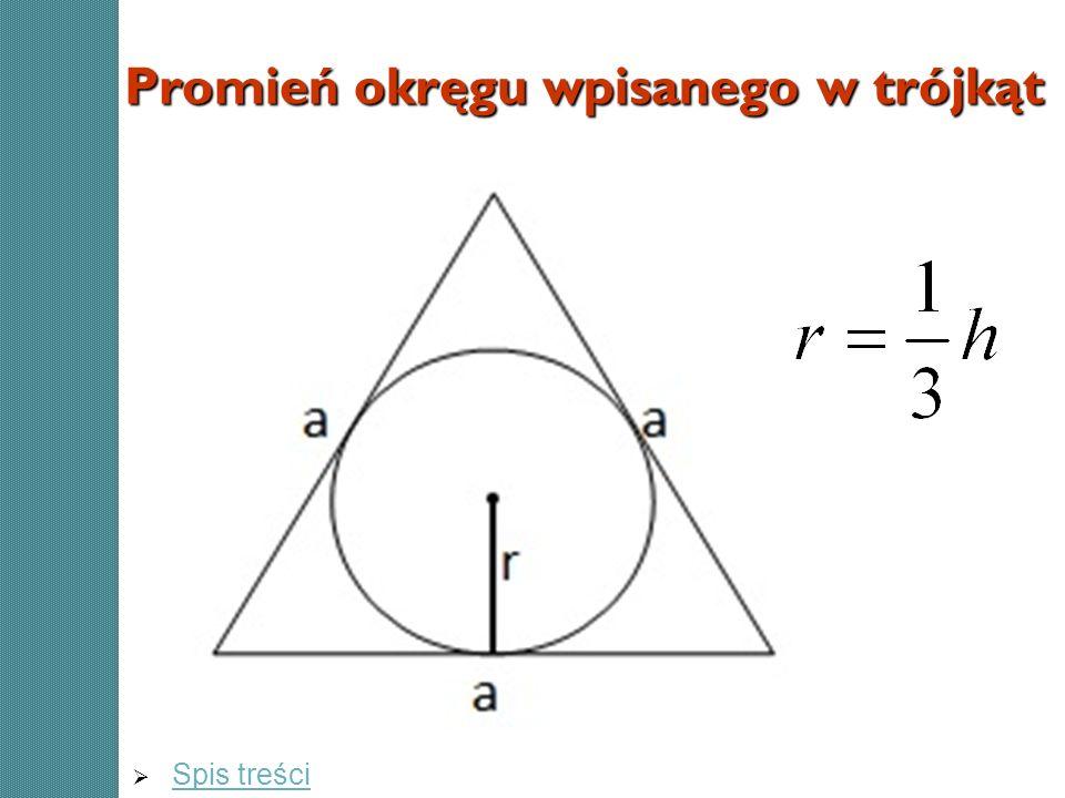 Promień okręgu wpisanego w trójkąt Spis treści