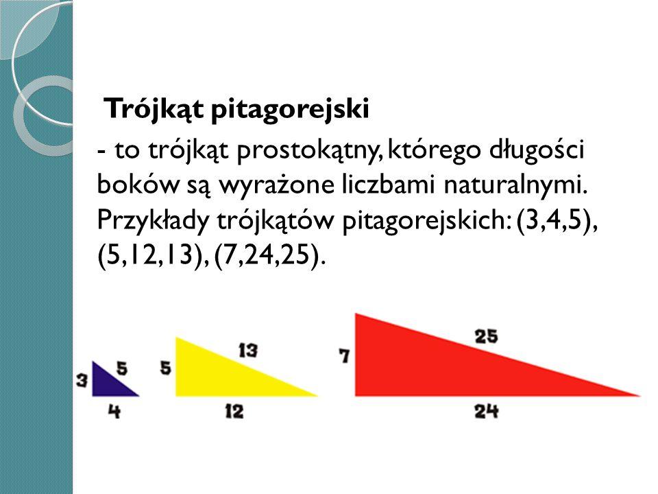 Trójkąt pitagorejski - to trójkąt prostokątny, którego długości boków są wyrażone liczbami naturalnymi. Przykłady trójkątów pitagorejskich: (3,4,5), (