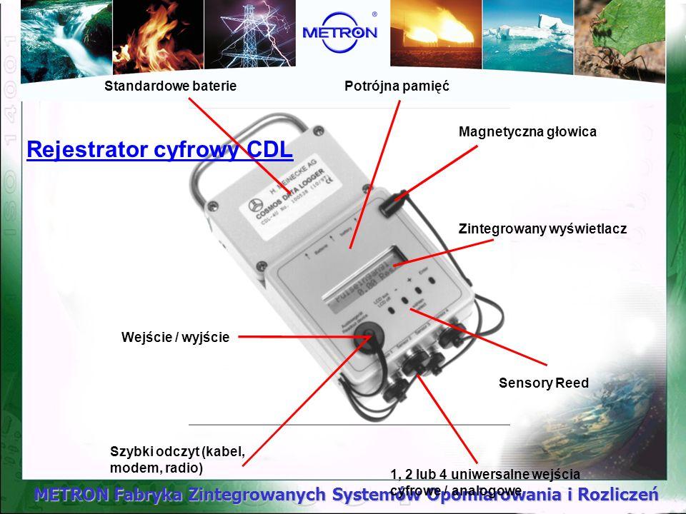 METRON Fabryka Zintegrowanych Systemów Opomiarowania i Rozliczeń Standardowe bateriePotrójna pamięć Magnetyczna głowica Zintegrowany wyświetlacz Wejśc