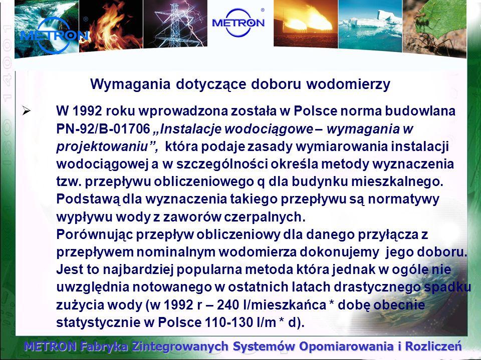 METRON Fabryka Zintegrowanych Systemów Opomiarowania i Rozliczeń Wymagania dotyczące doboru wodomierzy W 1992 roku wprowadzona została w Polsce norma
