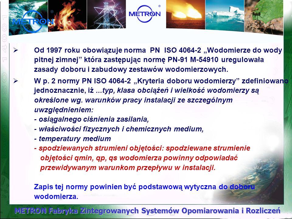 METRON Fabryka Zintegrowanych Systemów Opomiarowania i Rozliczeń Od 1997 roku obowiązuje norma PN ISO 4064-2 Wodomierze do wody pitnej zimnej która za