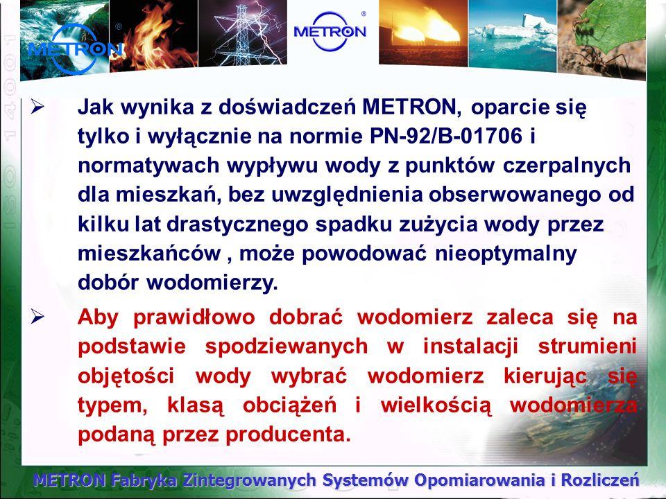 METRON Fabryka Zintegrowanych Systemów Opomiarowania i Rozliczeń Analiza rzeczywistych przyłączy, Przykład 1 Budynek wielorodzinny w Olsztynie: - ilość mieszkań 71 - suma normatywnych wypływów na 1 mieszkanie qn=0,89 dm 3 /s - qn=0,89 dm 3 /s * 71mieszkań = 63,19 dm 3 /s Na podstawie normy PN-92/B-01706 przeprowadzając wyliczenia otrzymujemy następujący przepływ obliczeniowy q dla budynku: q =1,7*( qn) 0,21 – 0,7 = 1,7*( 63,19) 0,21 –0,7 = 3,36 dm 3 /s tj.