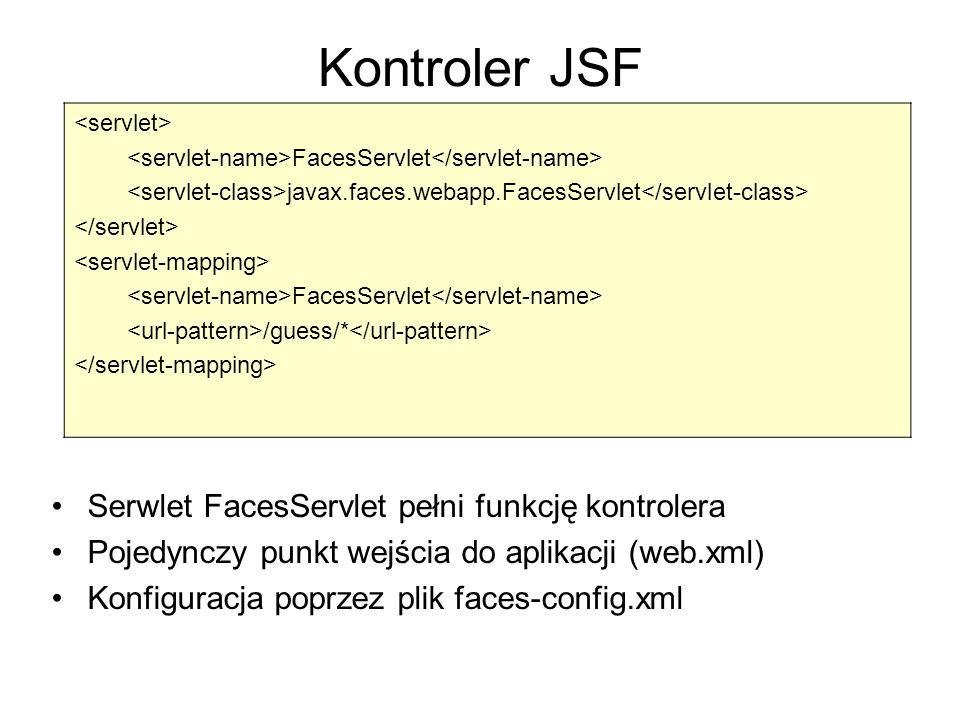 Kontroler JSF Serwlet FacesServlet pełni funkcję kontrolera Pojedynczy punkt wejścia do aplikacji (web.xml) Konfiguracja poprzez plik faces-config.xml