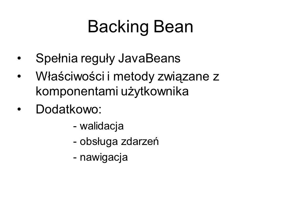 Backing Bean Spełnia reguły JavaBeans Właściwości i metody związane z komponentami użytkownika Dodatkowo: - walidacja - obsługa zdarzeń - nawigacja
