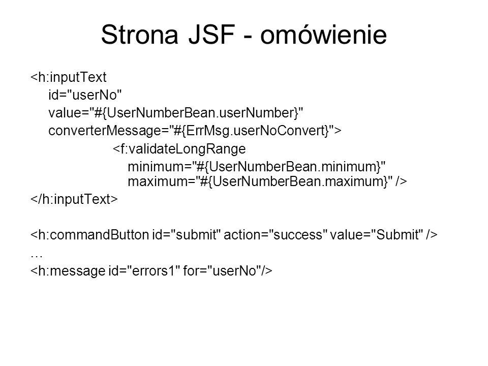 Strona JSF - omówienie <h:inputText id=