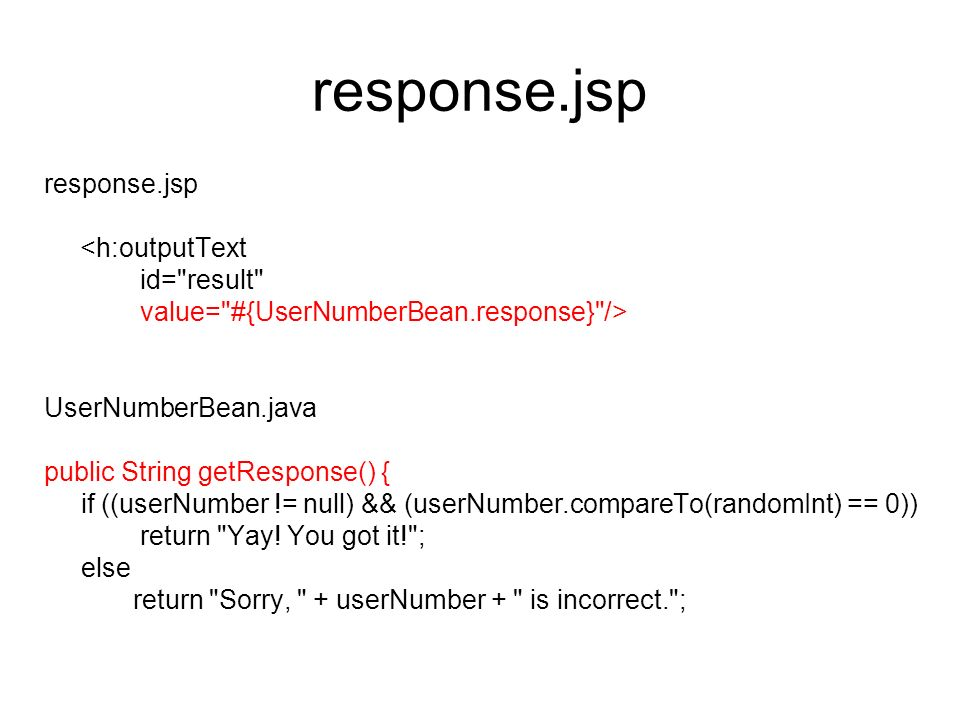 response.jsp <h:outputText id=