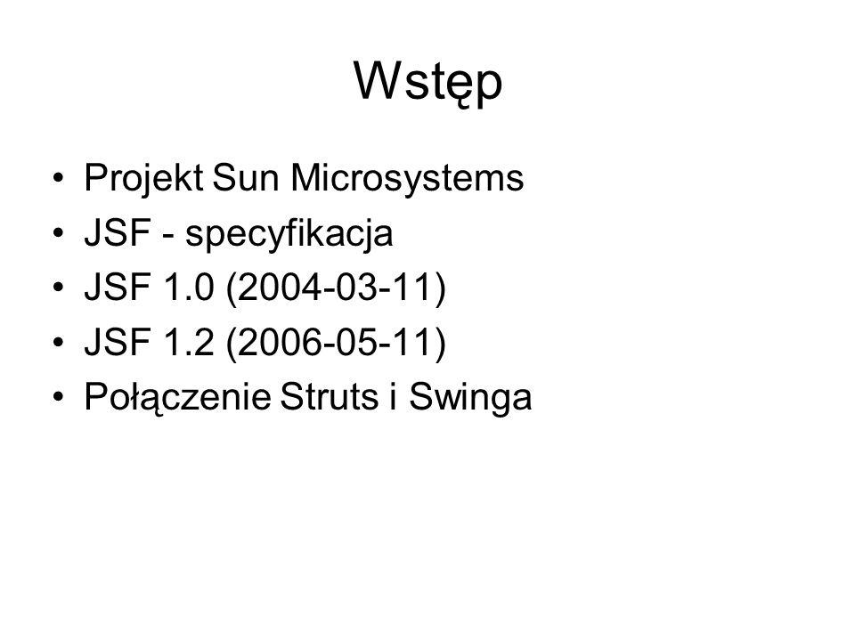 Wstęp Projekt Sun Microsystems JSF - specyfikacja JSF 1.0 (2004-03-11) JSF 1.2 (2006-05-11) Połączenie Struts i Swinga