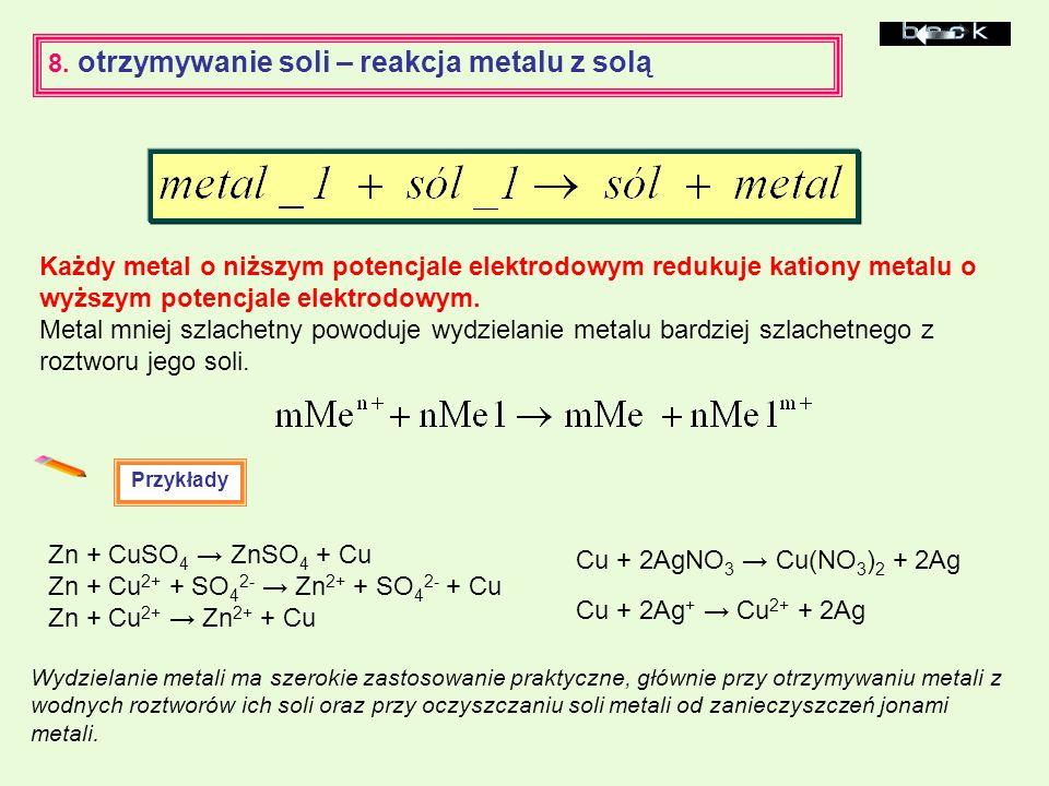 Każdy metal o niższym potencjale elektrodowym redukuje kationy metalu o wyższym potencjale elektrodowym. Metal mniej szlachetny powoduje wydzielanie m