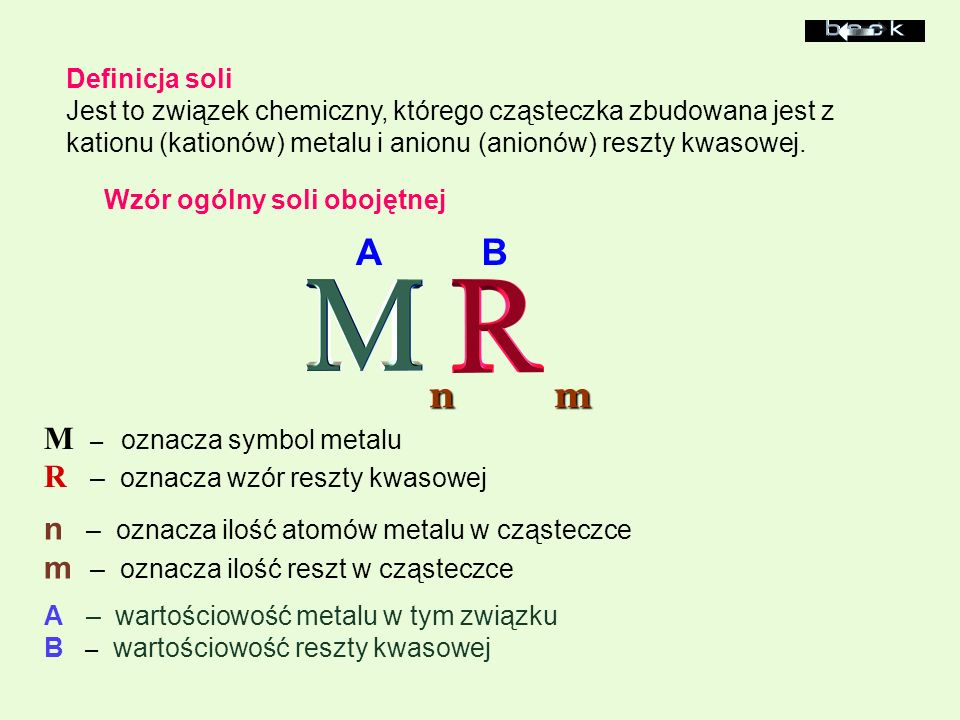 Definicja soli Jest to związek chemiczny, którego cząsteczka zbudowana jest z kationu (kationów) metalu i anionu (anionów) reszty kwasowej. Wzór ogóln