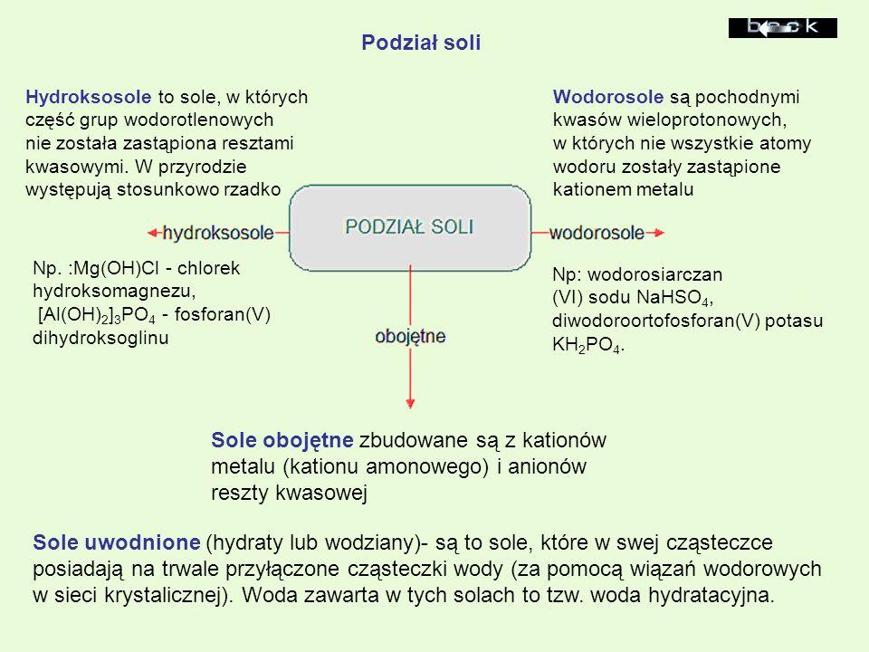 Sole obojętne zbudowane są z kationów metalu (kationu amonowego) i anionów reszty kwasowej Wodorosole są pochodnymi kwasów wieloprotonowych, w których