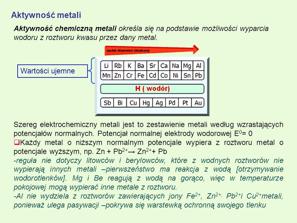 Aktywność metali Szereg elektrochemiczny metali jest to zestawienie metali według wzrastających potencjałów normalnych. Potencjał normalnej elektrody