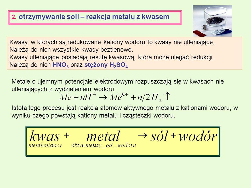 2. otrzymywanie soli – reakcja metalu z kwasem Metale o ujemnym potencjale elektrodowym rozpuszczają się w kwasach nie utleniających z wydzieleniem wo