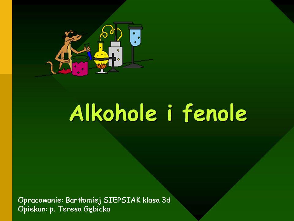 Budowa alkoholi i fenoli Szereg homologiczny alkoholi Nazewnictwo Podział alkoholi Otrzymywanie alkoholi Właściwości alkoholi METANOL, ETANOL, FENOL Kliknij na wybrany temat