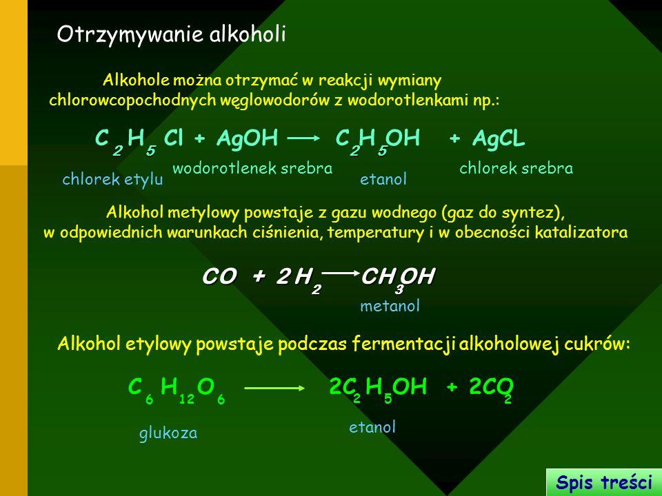Otrzymywanie alkoholi Alkohole można otrzymać w reakcji wymiany chlorowcopochodnych węglowodorów z wodorotlenkami np.: Alkohol metylowy powstaje z gaz